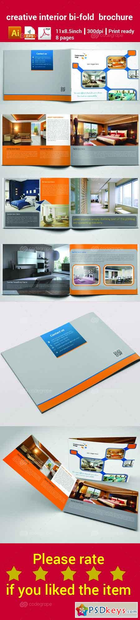 Creative interior bi fold brochure 6313 free download for Bi fold brochure template illustrator