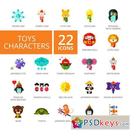 Toys Characters Icons Set 661883