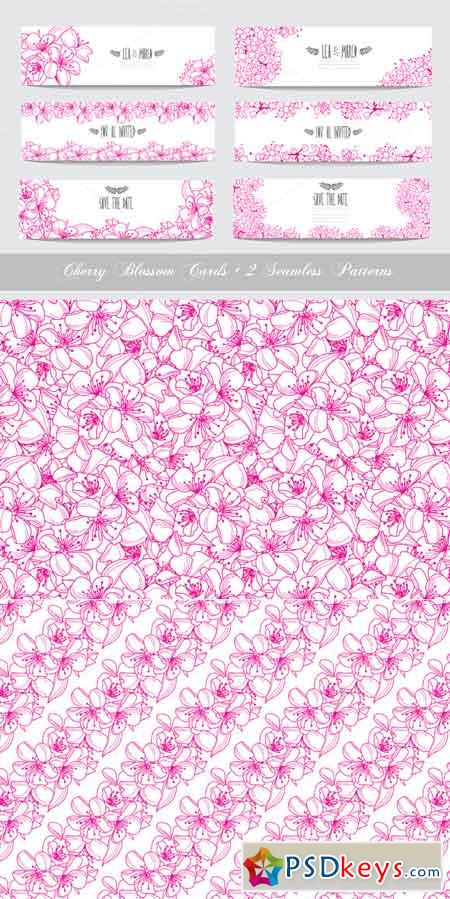 Pink Cherry Blossom Cards + Patterns 672094