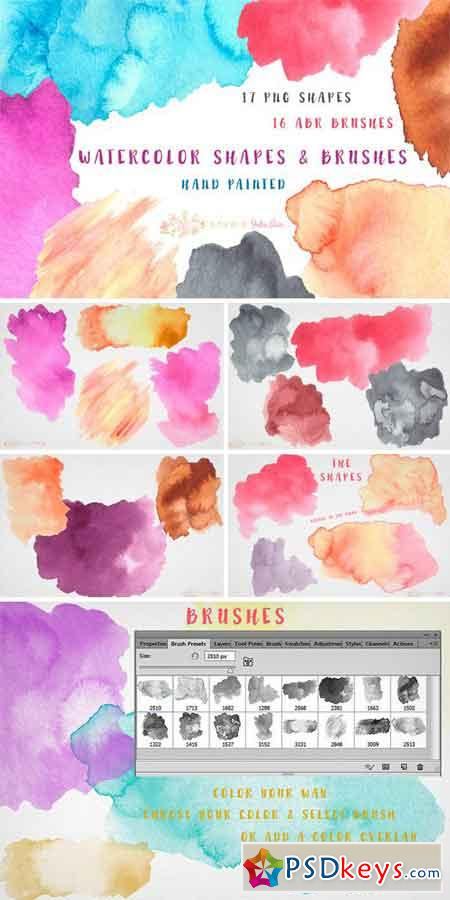 Watercolor Splotches Shapes Brushes 411735