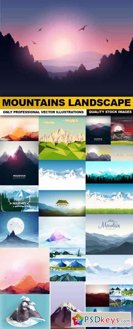 Mountains Landscape - 25 Vector