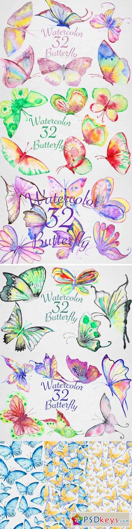 Watercolor Butterfly Set2 671539