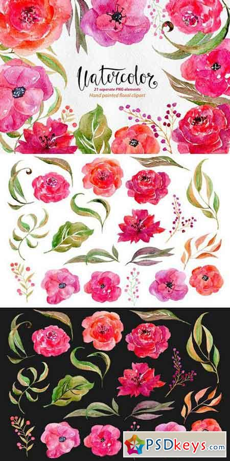 Watercolor flowers, 21 png clipart 676979