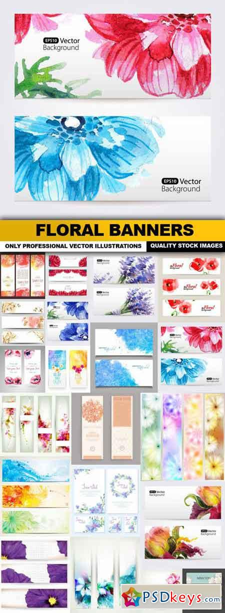 Floral Banners - 20 Vector
