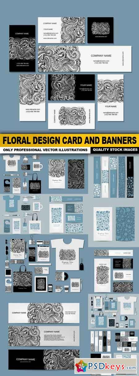 Floral Design Card And Banners - 14 Vector