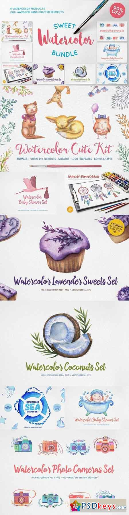 Sweet Watercolor Bundle 665746