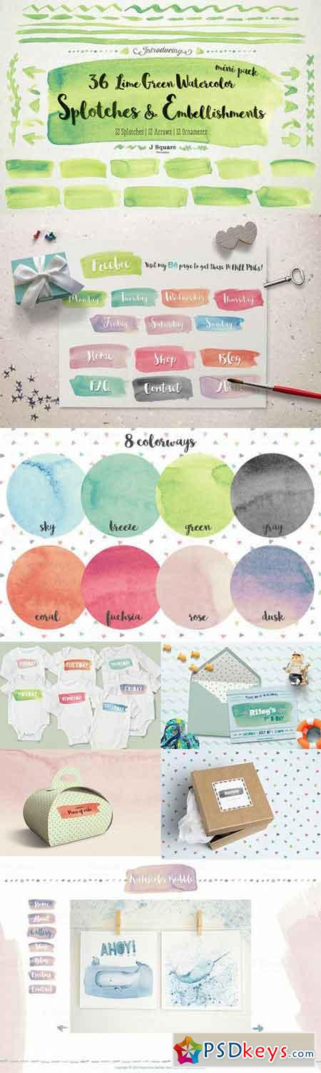 Watercolor Splotches & Decors-Lime 668705