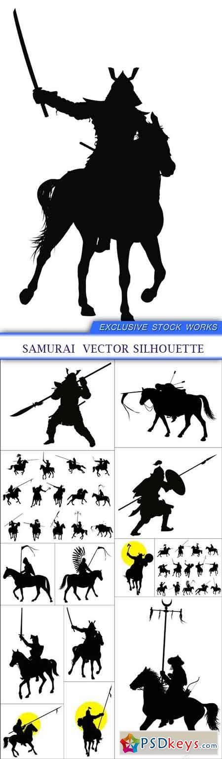 Samurai vector silhouette 13X EPS » Free Download ...