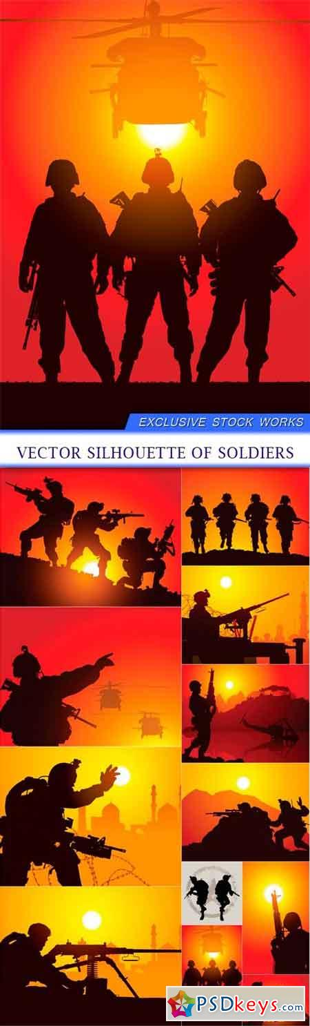 Vector silhouette of soldiers 12X EPS