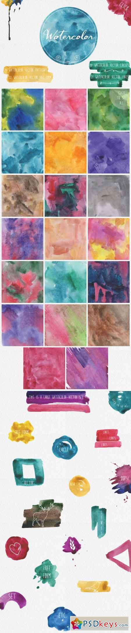 Watercolor vector set 84519