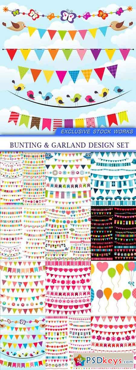 Bunting & garland design set 15X EPS