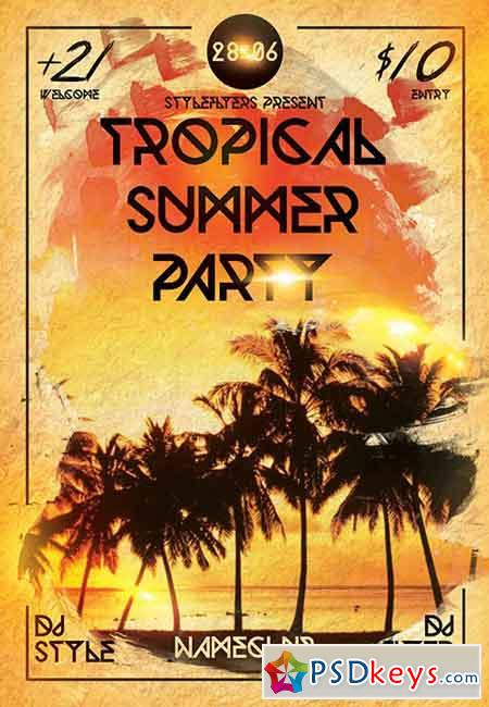 Tropical Summer Party PSD Flyer Template + Facebook Cover