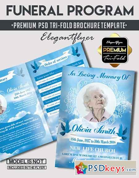 Funeral program premium bi fold psd brochure template for Program brochure templates