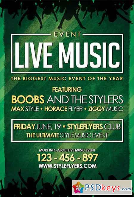 Live Music Event PSD Flyer Template + Facebook Cover
