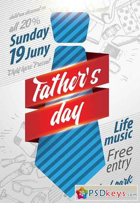 Father's Day PSD Flyer Template + Facebook Cover