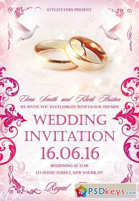 Wedding Invitation PSD Flyer Template + Facebook Cover » Free ...