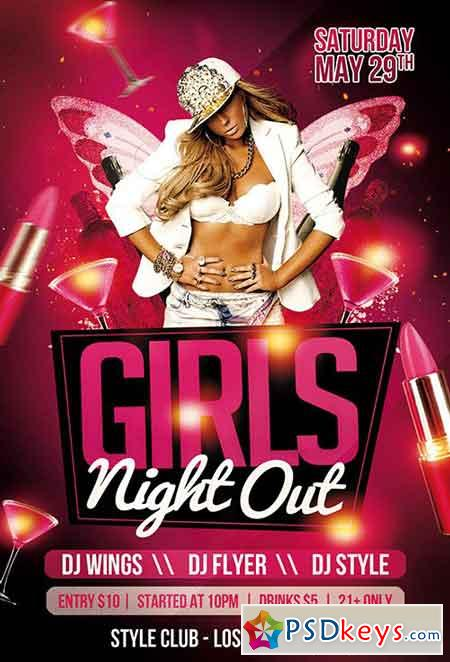 Girls Night Out PSD Flyer Template + Facebook Cover