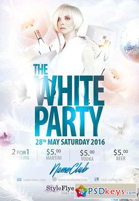 White Party PSD Flyer Template + Facebook Cover