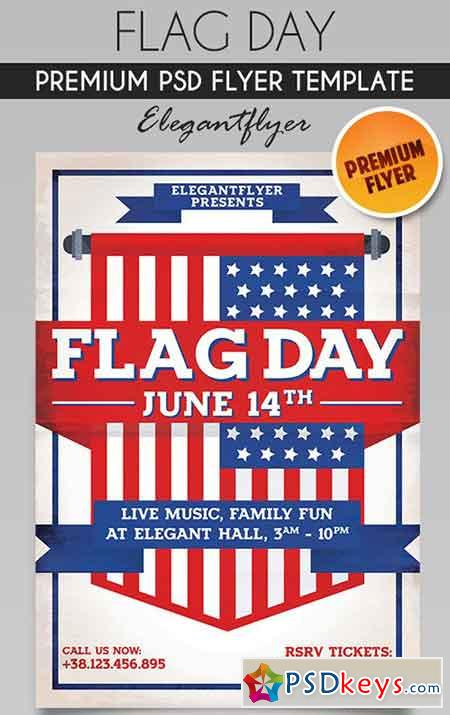 Flag Day – Flyer PSD Template + Facebook Cover