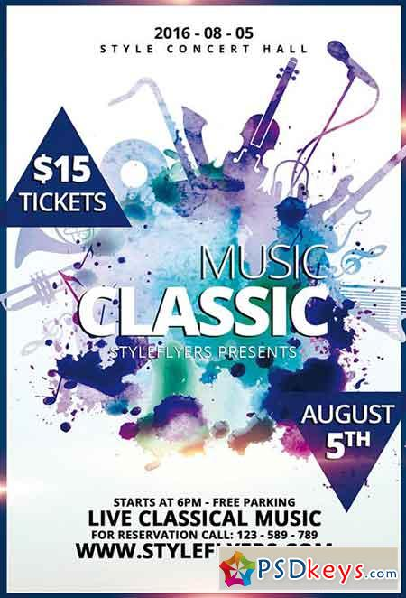 Classic Music PSD Flyer Template + Facebook Cover