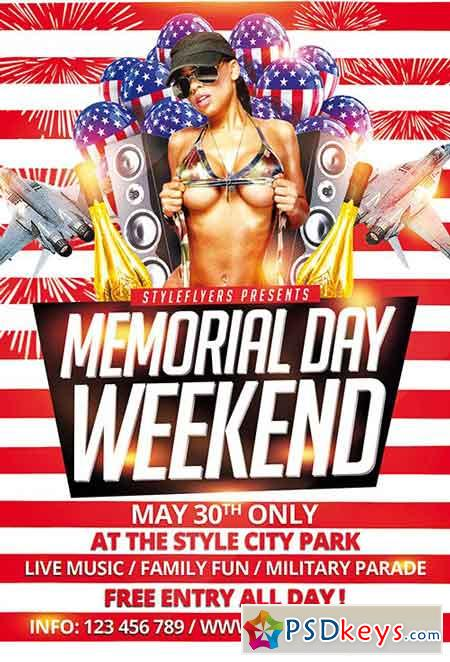 Memorial Day Weekend PSD Flyer Template + Facebook Cover