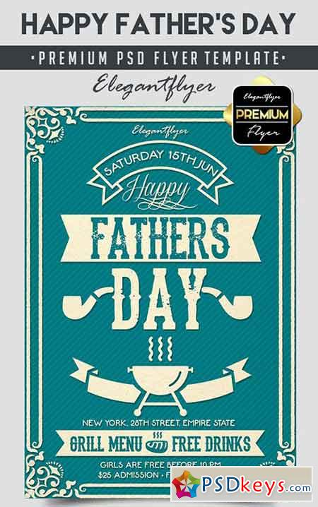 Happy Father's Day – Flyer PSD Template + Facebook Cover