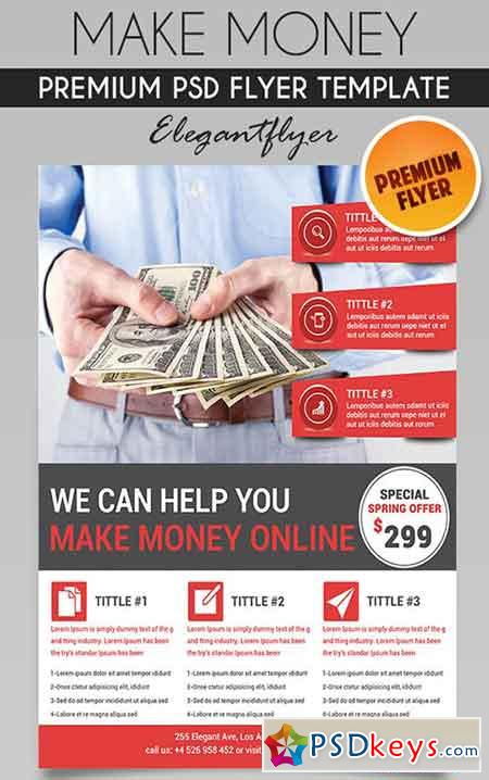 make money flyer psd template facebook cover free download