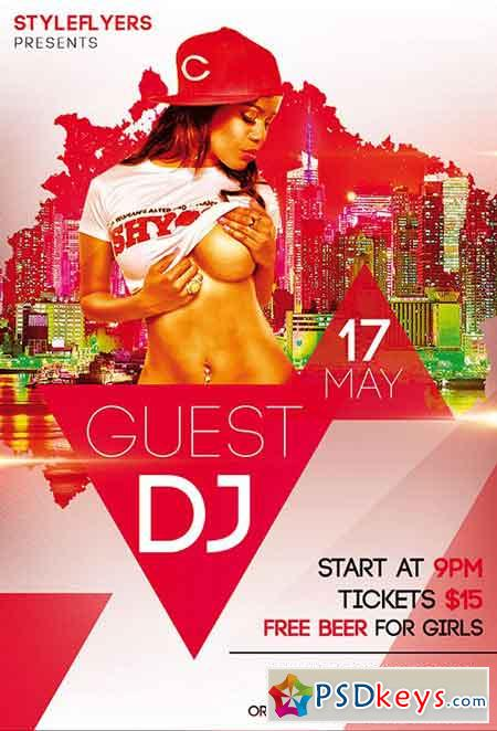 Guest DJ PSD Flyer Template + Facebook Cover