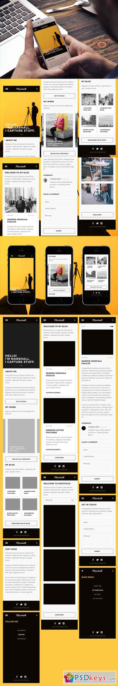 Marshall Mobile Web Psd Template 674250 Free Download Photoshop