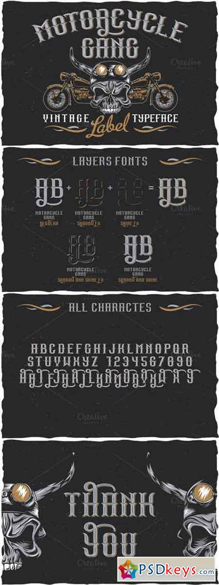 Motorcycle Gang label font 681643