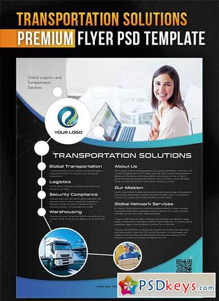 Transportation Solutions – Flyer PSD Template + Facebook Cover