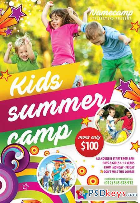 Kids Summer Camp Psd Flyer Template + Facebook Cover » Free