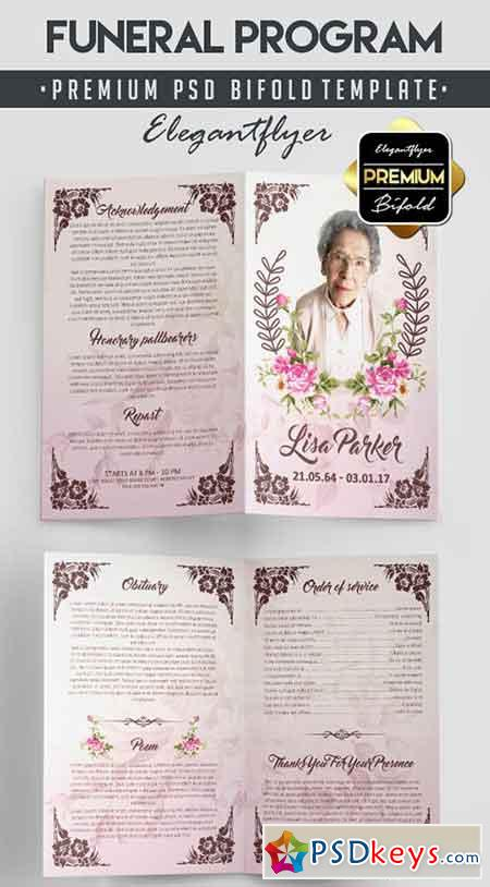 Funeral Program Bi Fold PSD Template Facebook Cover