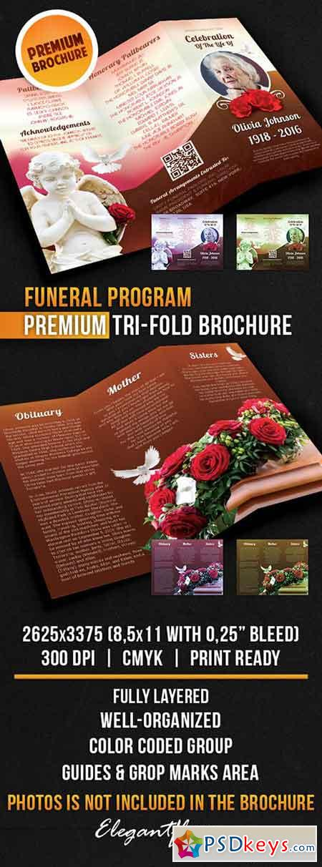 Funeral program tri fold brochure psd template free for Free funeral brochure templates online