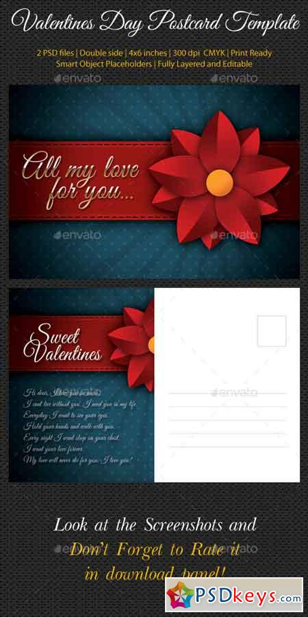 Valentines Day Postcard Template V02 10047463