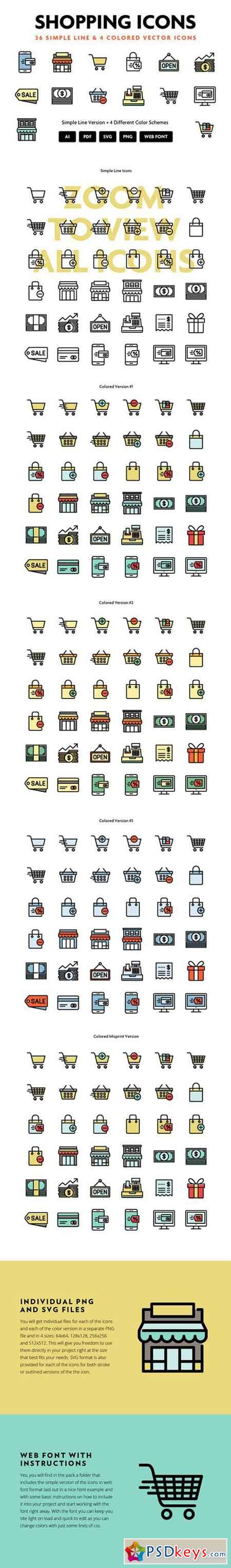 Shopping Line Icons 200389 » Free Download Photoshop Vector