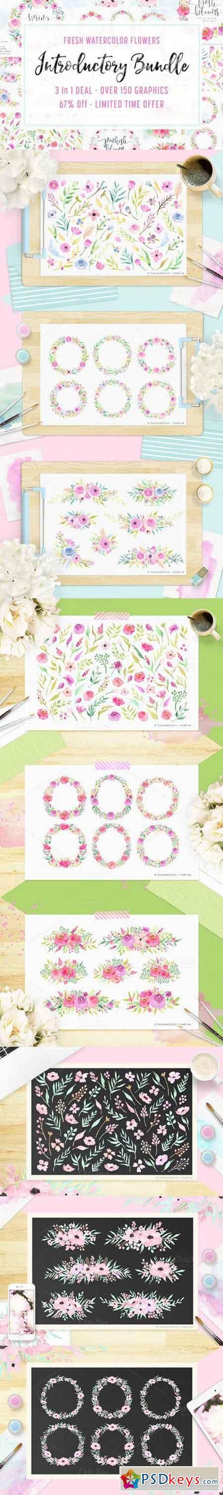 3 IN 1 Bundle - Watercolor Flowers 695468