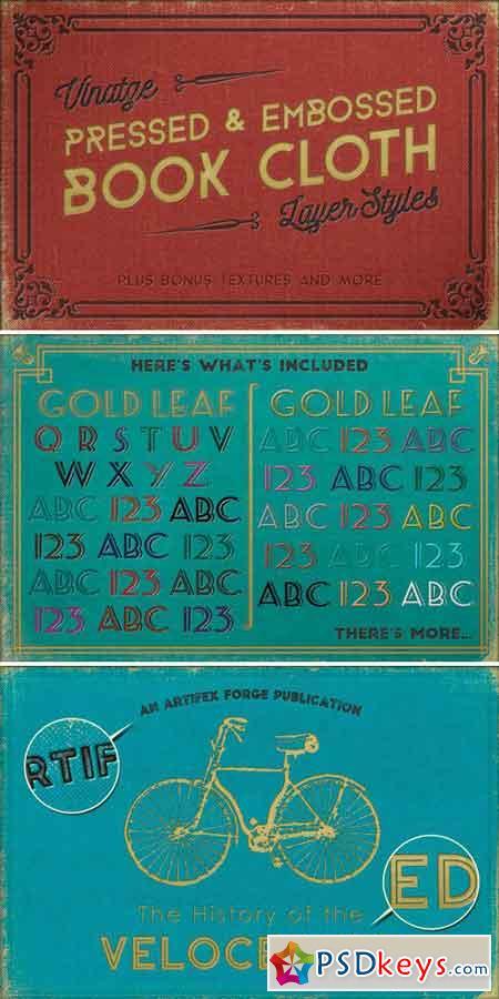 Vintage Pressed Book Cloth Styles+ 108917