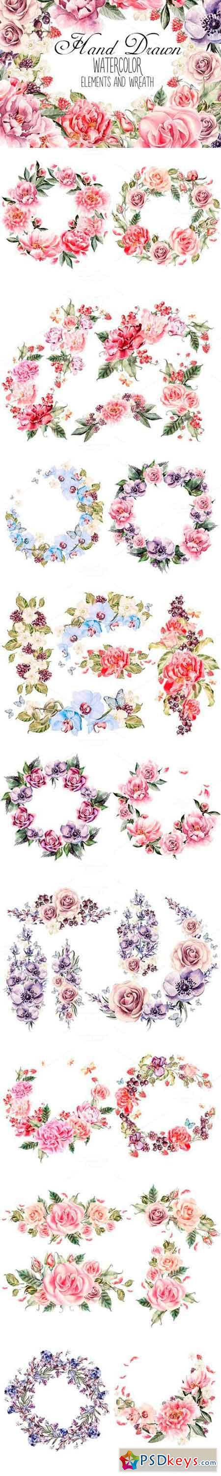 watercolor ELEMENTS and WREATH 691137