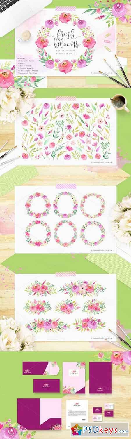 Fresh Blooms - Watercolor Flowers 691947