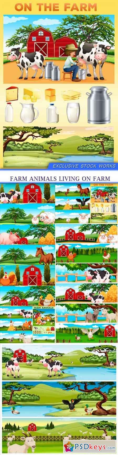 Farm animals living on farm 9X EPS
