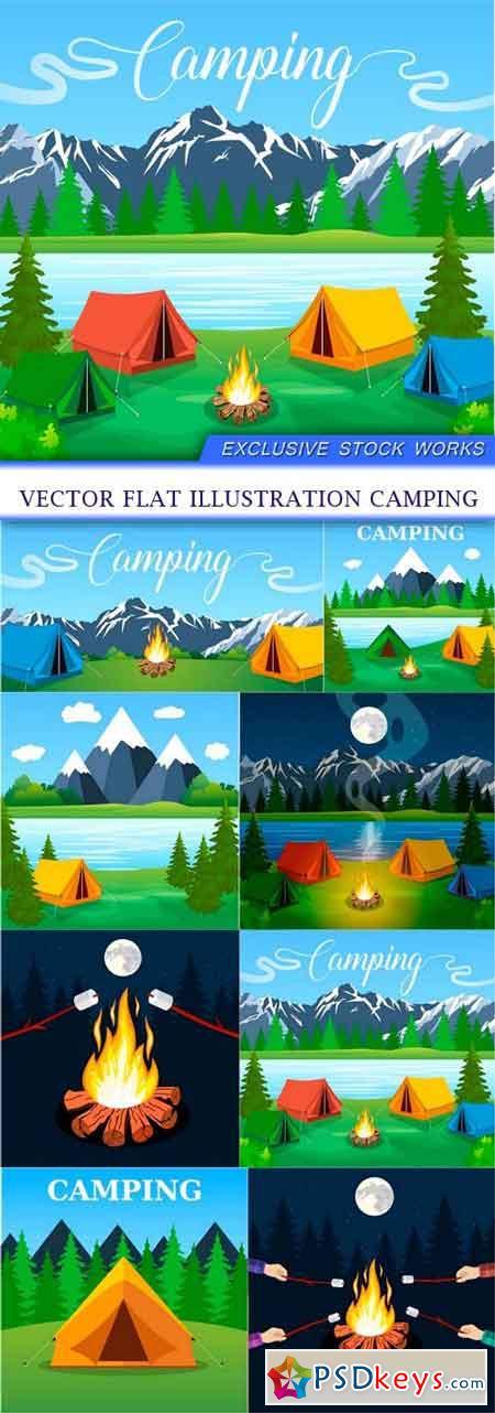Vector flat illustration camping 8X EPS