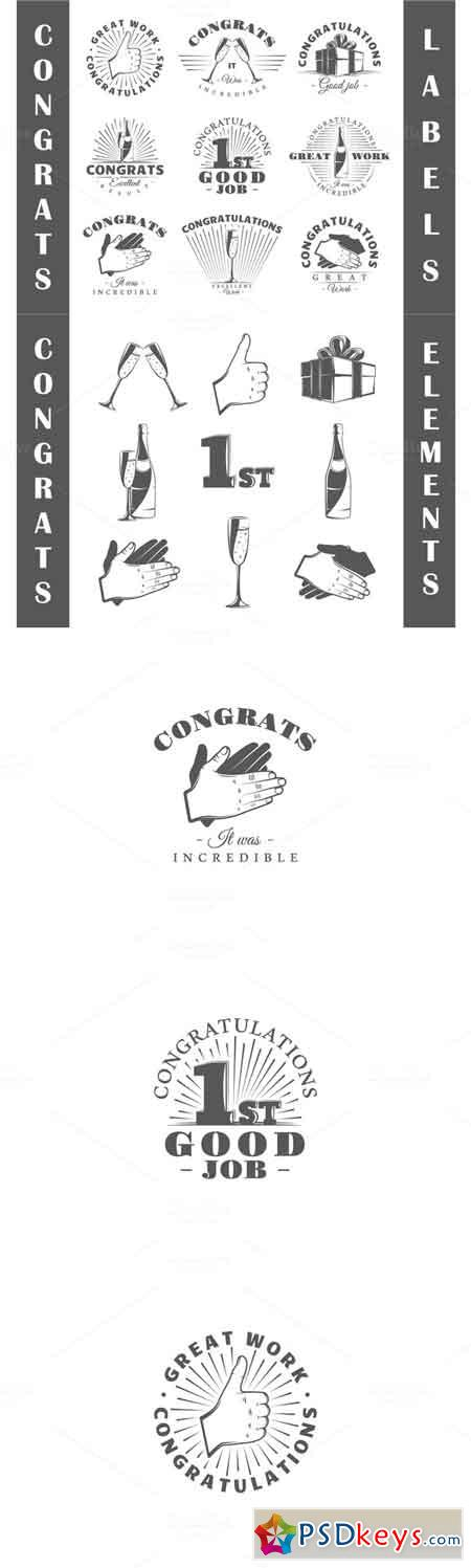 9 Congrats labels templates 619469