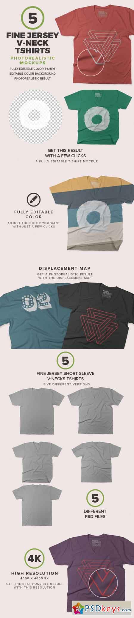 V-Neck T-shirts Mockups 683394