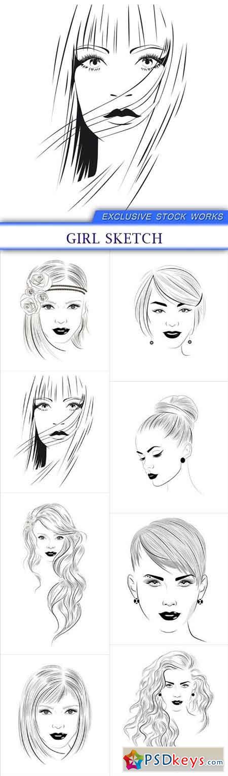 girl sketch 8X EPS