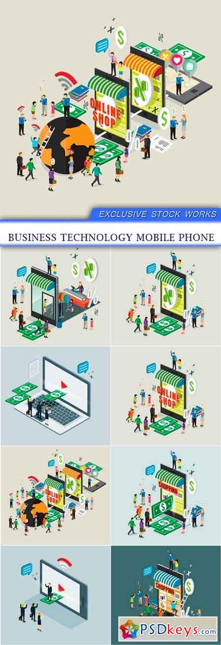 business technology mobile phone 8x EPS