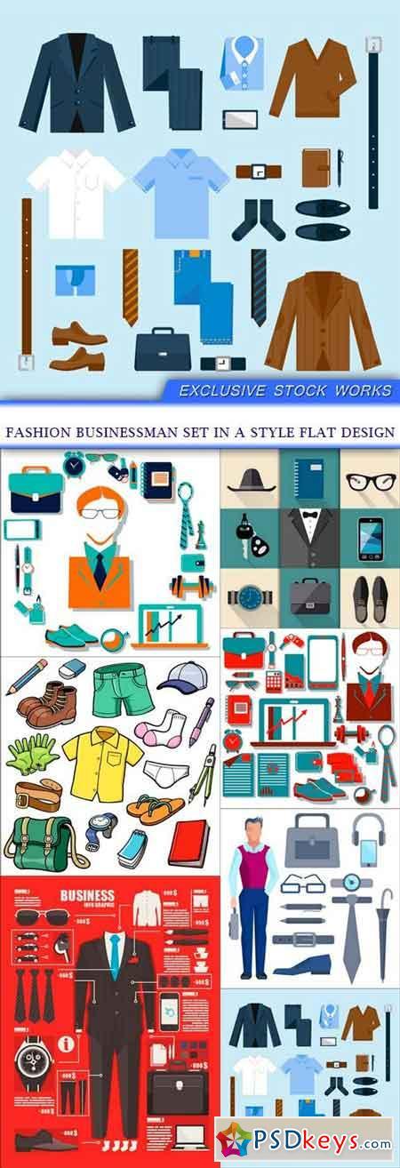 Fashion businessman set in a style flat design 7X EPS