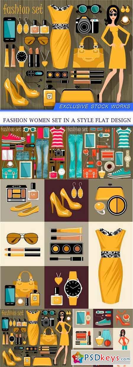 Fashion women set in a style flat design 10X EPS
