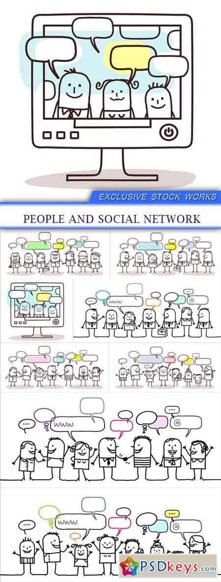People and social network 8X EPS
