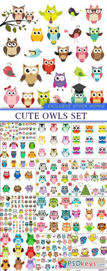 Cute owls set 14X EPS